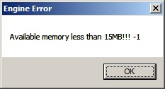 Available memory less than 15MB!!!