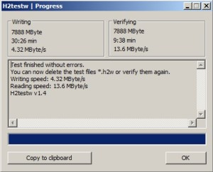 Окно программы H2testw